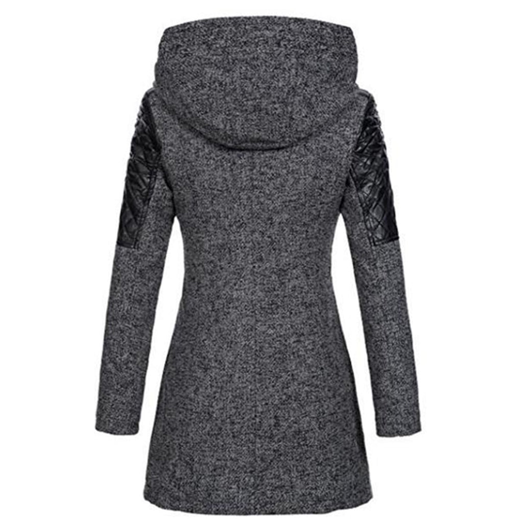 Gray Jacket for Women Slim Hooded Coat Street Style Fashion