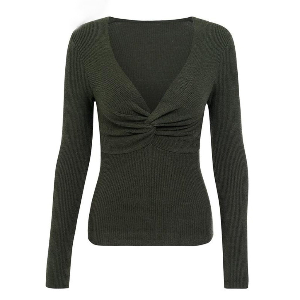 Green Cross V-neck Sweater