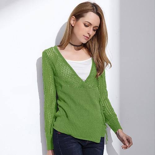 Women's Green Knitted Cardigan Sweater with Loose Knit and Overlap lace Up Front