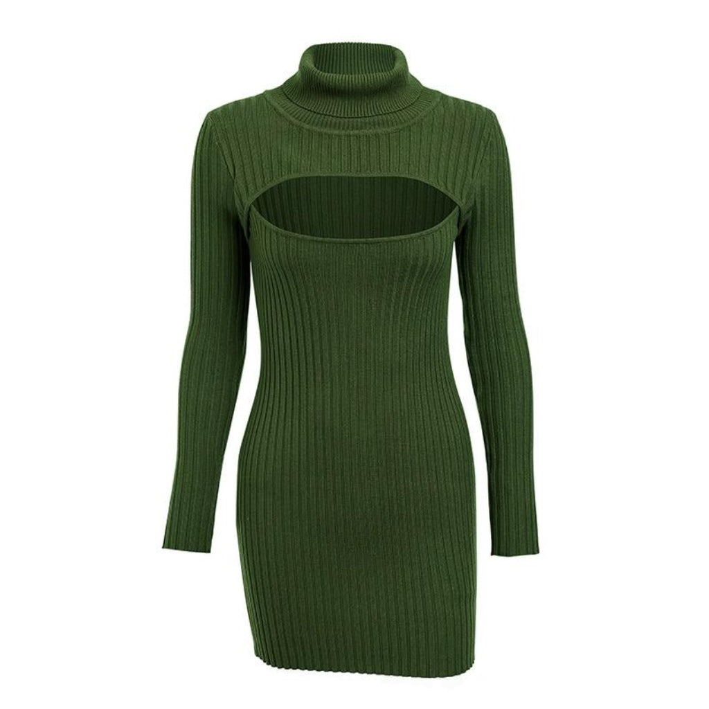 Green Turtleneck Mini Dress Hollow Chest Long Sleeve