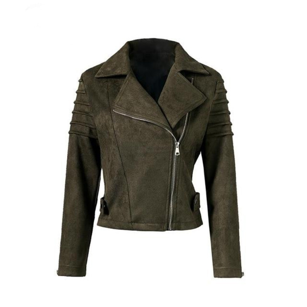 Green Suede Jacket Women's short Coat