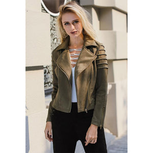 Green Suede Jacket Women's Short Coat Street Style Fashion Jacket