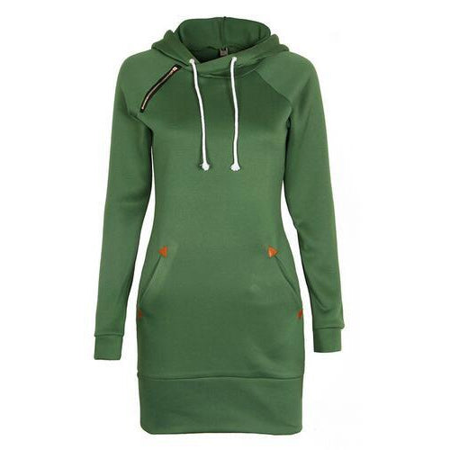 Green Sweater Dress Pockets and Hood Soft and Comfy