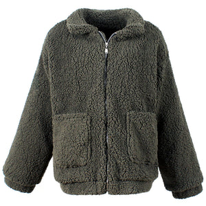 Green Teddy Coat Women Faux Sherpa Bomber Jacket