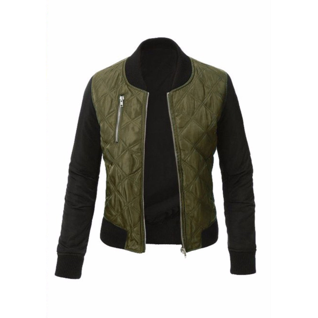 Women's green Bomber Jacket Cute Coat for Fall Fashion
