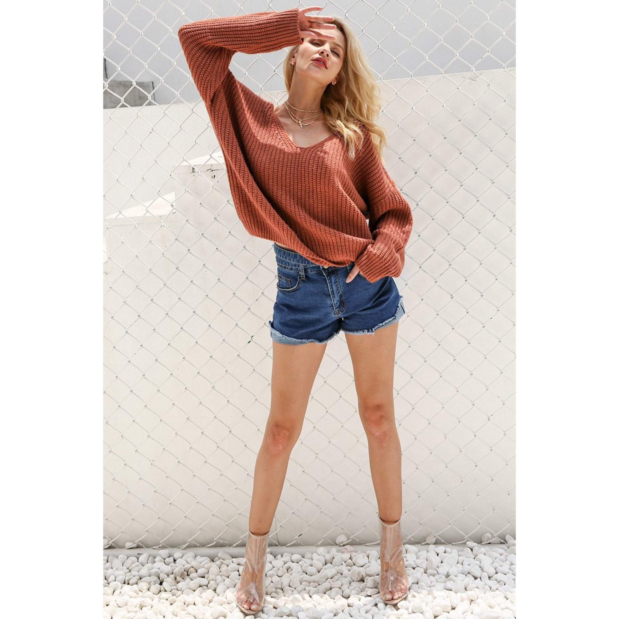 Women's High Low Sweater Lace Up Back Sweatshirt with Long sleeves and v-neck with open back