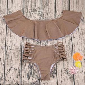 Brown High Waist Bikini Set Ruffle Top Off the Shoulder Swimsuit