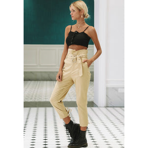 High Waist Capri Pants Khaki With Sash