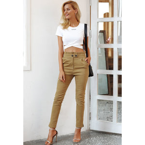Khaki Color High Waist Corduroy Pants For Women Ankle Length With button Strap