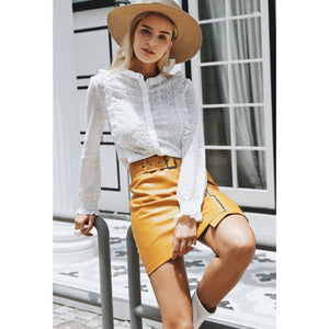 High Waist Yellow Mini Skirt with Belt a White Blouse and Hat