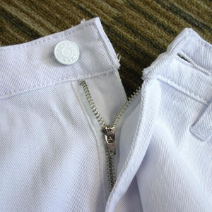 Women's White High Waisted Jeans Button Up With Zipper