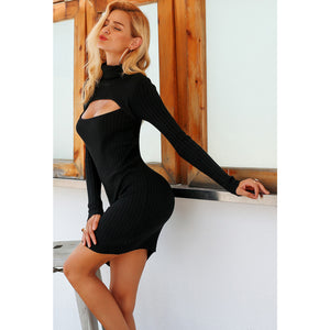 Long Sleeve Turtleneck Bodycon Dress with Chest Cutout