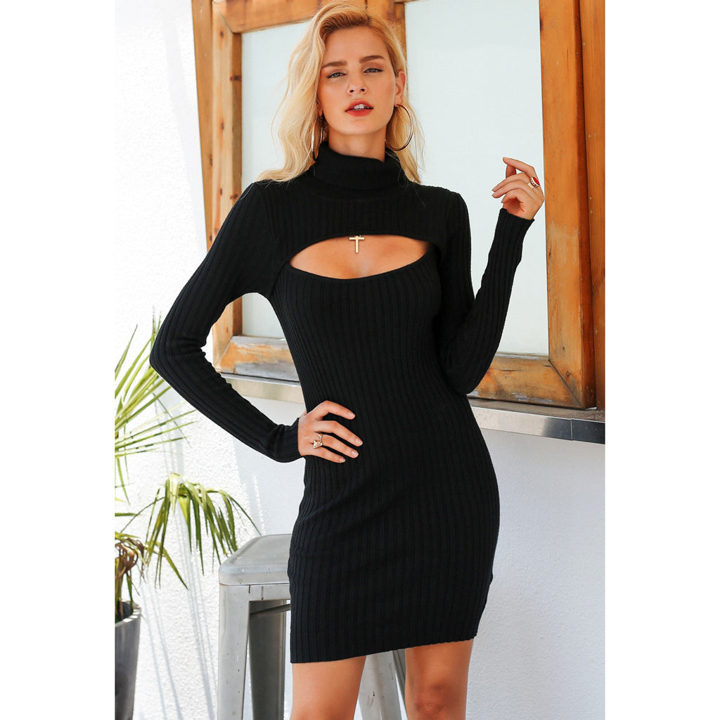 Chest Cutout Mini Dress Turtleneck Bodycon Dress Black