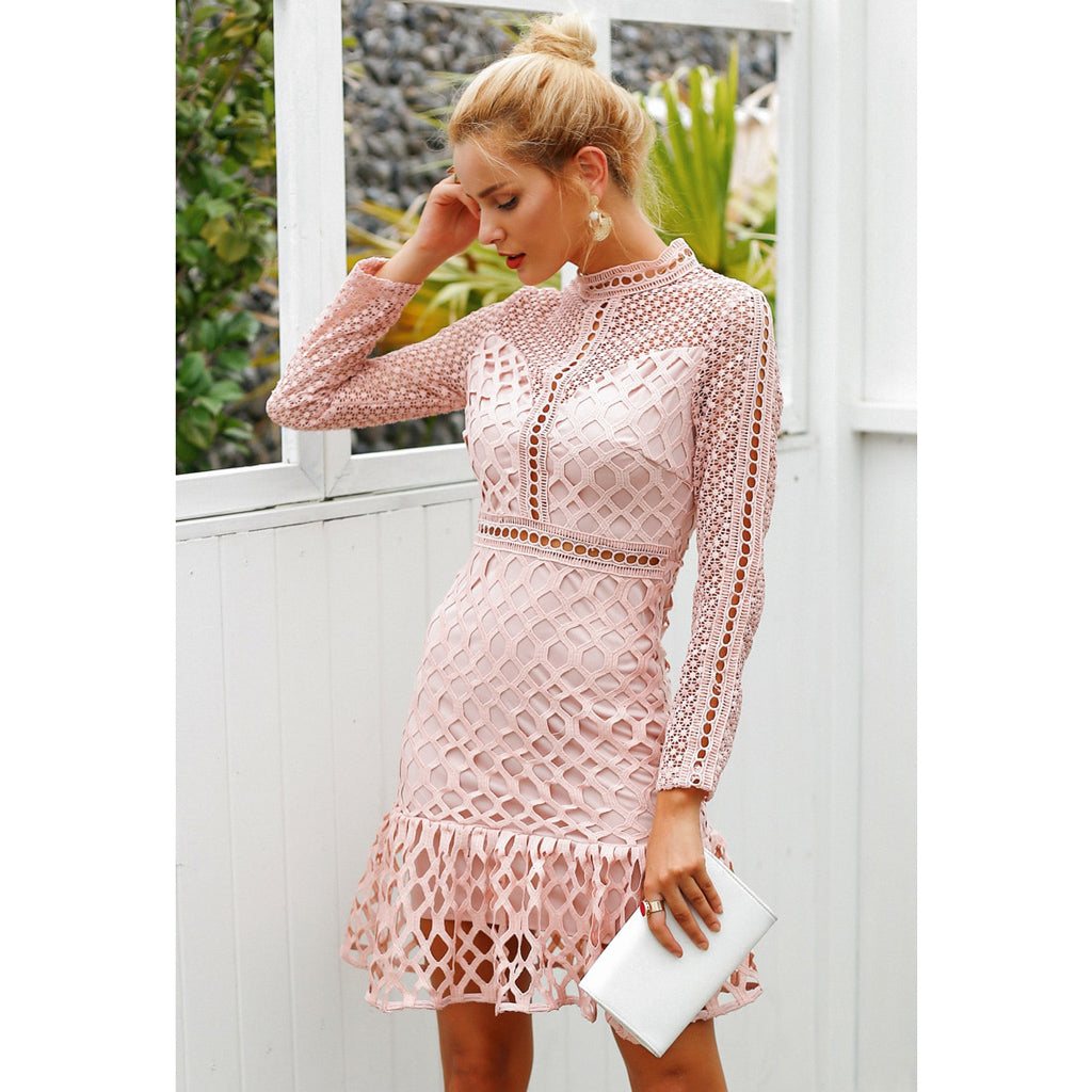 Long Sleeve Hollow Out Mini Dress Pink Classy