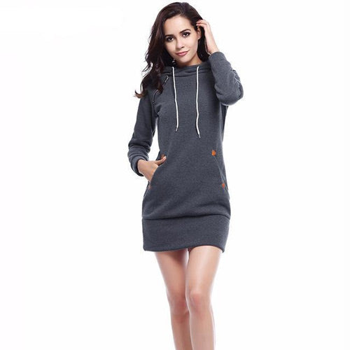 Hooded Sweater Dress With Pockets