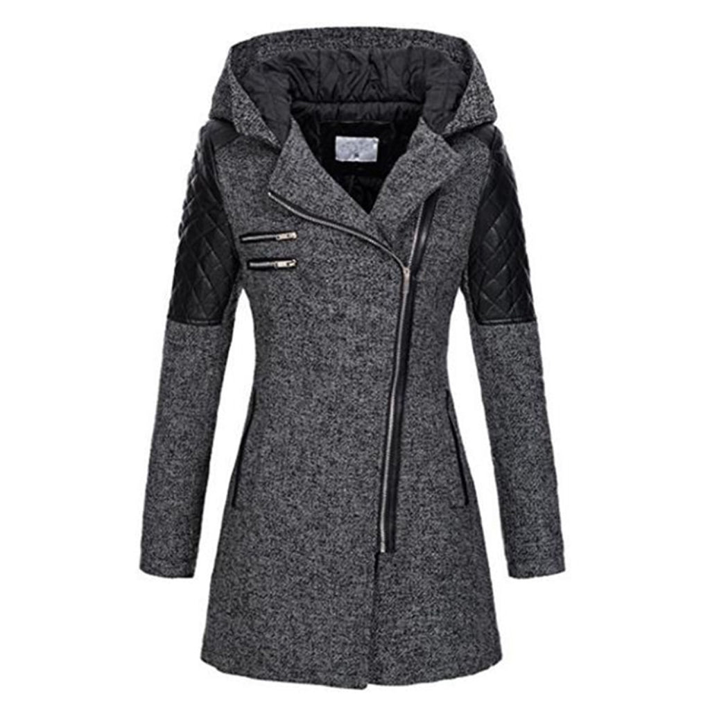 Slim Hooded Coat Windproof Jacket Gray Coat with Black Patchwork Women's Winter Coat