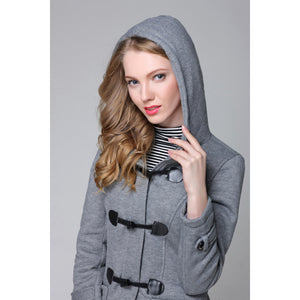 Hooded Women's Trench Coat Gray with Cute Claspes