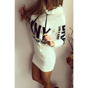 Hoodie Sweater Dress White Street Style Fashion
