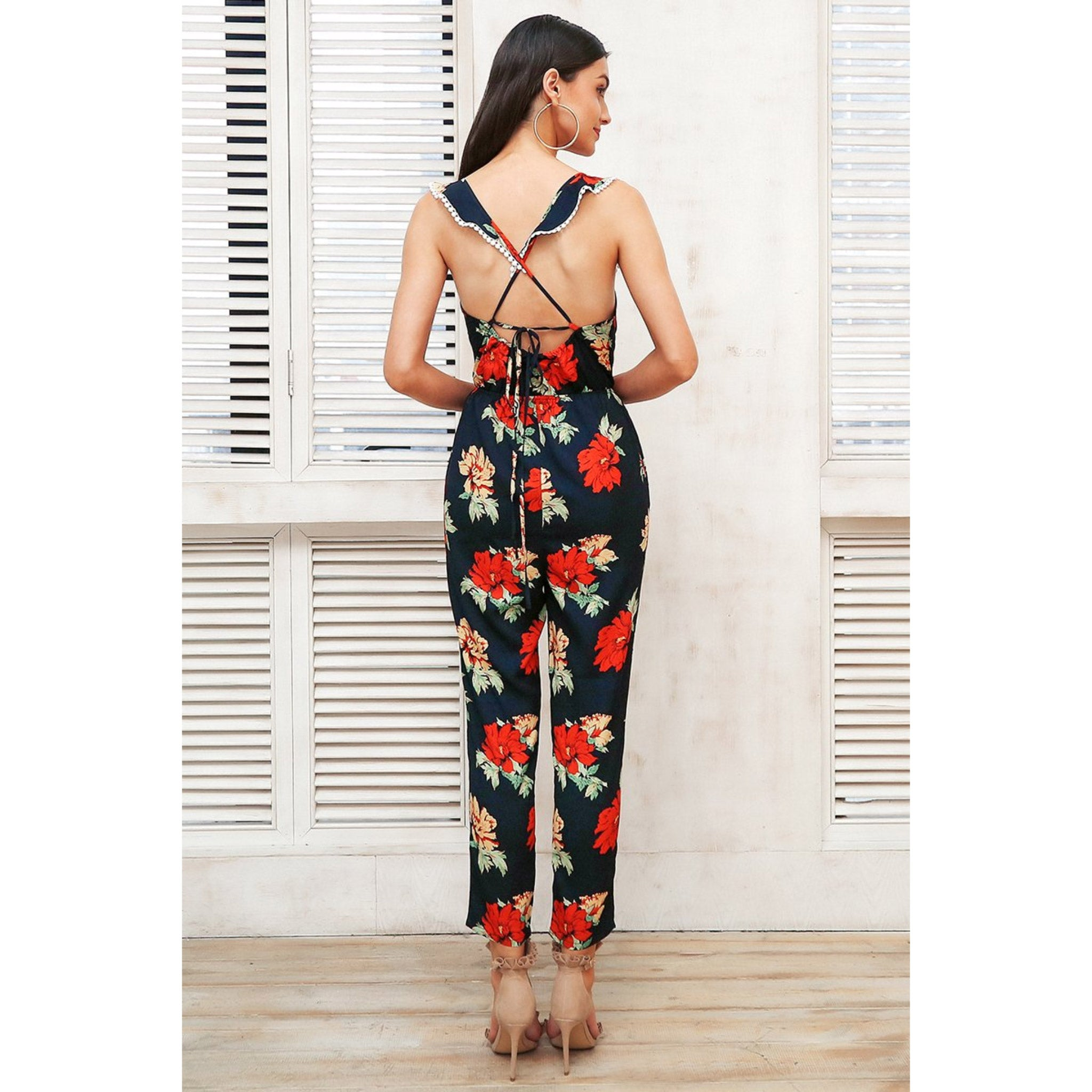 Jumpsuit with Open Back Floral Pattern and Sleeveless