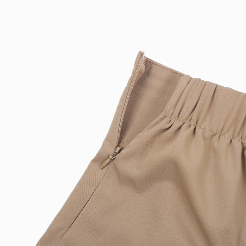 Khaki Capris Street Pants Elastic waistband and Zipper slit High Waist