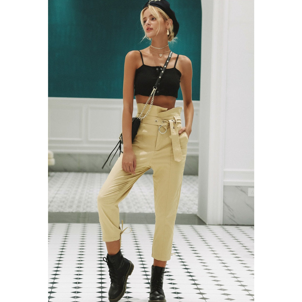 Street Style Capri Pants Women Capri Pants with Sash