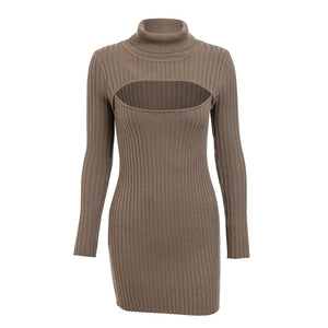 Khaki Hollow Chest Mini Dress Bodycon Turtleneck