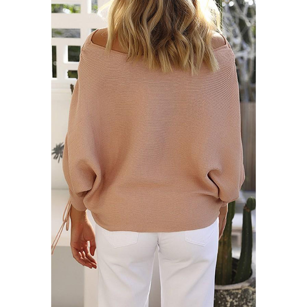 Knit Women's Pullover Sweater Lace Up Sleeve Off the Shoulder Pink Women's Online Sweater Shopping