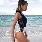 Lace One-shoulder One-piece Swimsuit Classy and Modest with a Bow