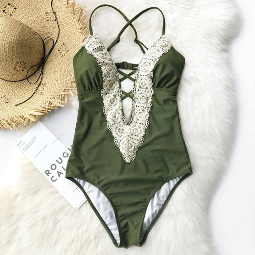 Classy Lace One-piece Swimsuit Green Modest Swimwear Style Full Coverage One-piece Bathing Suit