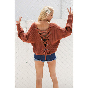 Women's Red Lace Up Back Sweater Knitted  with an Open Back and Long Sleeves