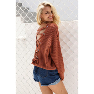 Women's Red Lace Up Back Sweatshirt with V-neck and Long Sleeves Women's Fashion Fall Look