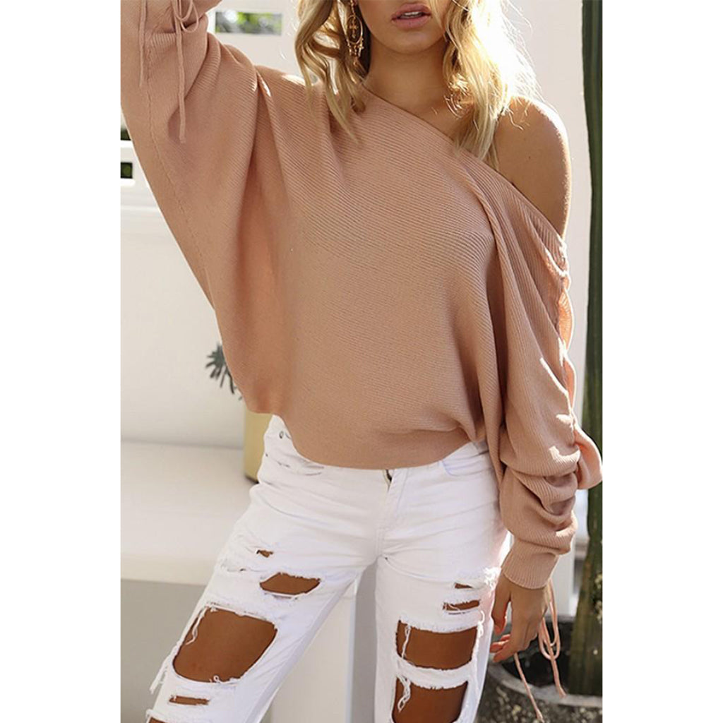 Lace Up Sleeve Sweater Women's Fashion Online Shopping Knit Pullover Off the Shoulder