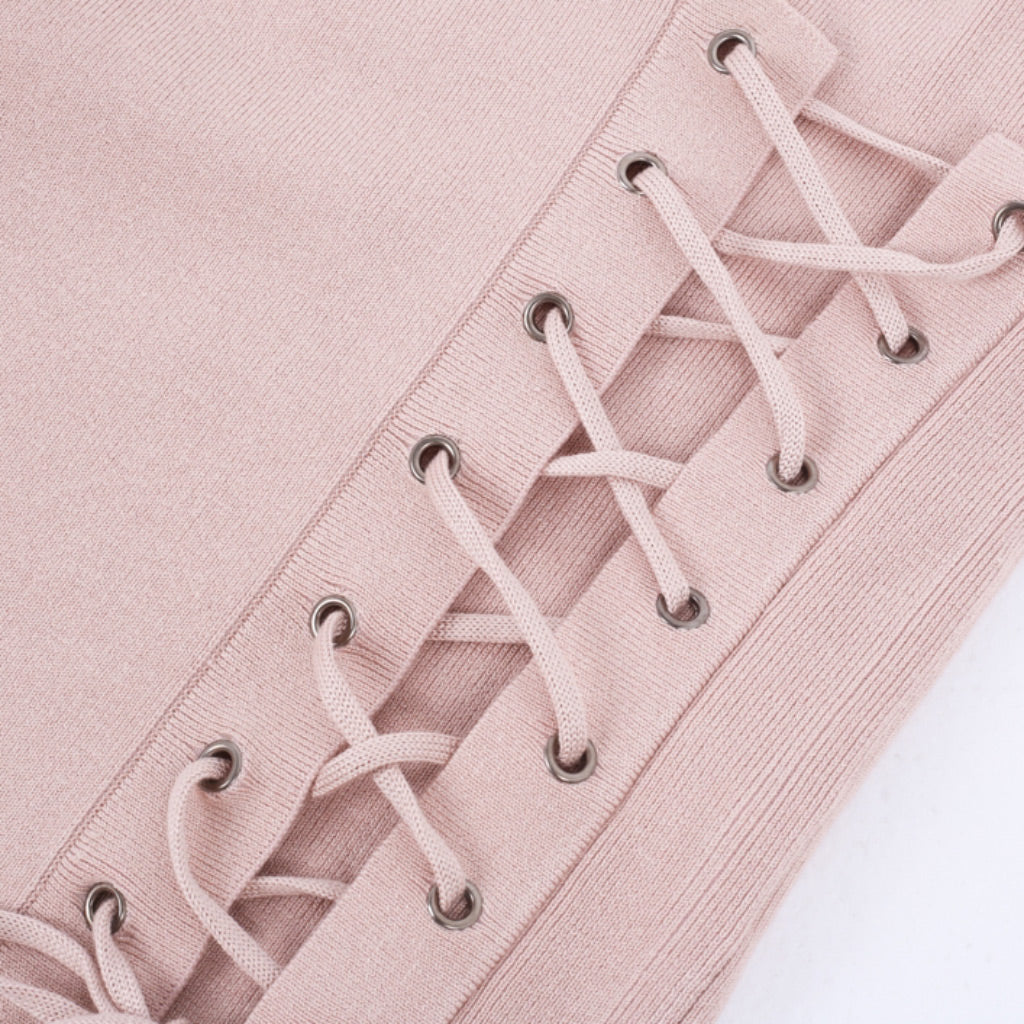 Pink Lace Up Sweater Classy Fashion
