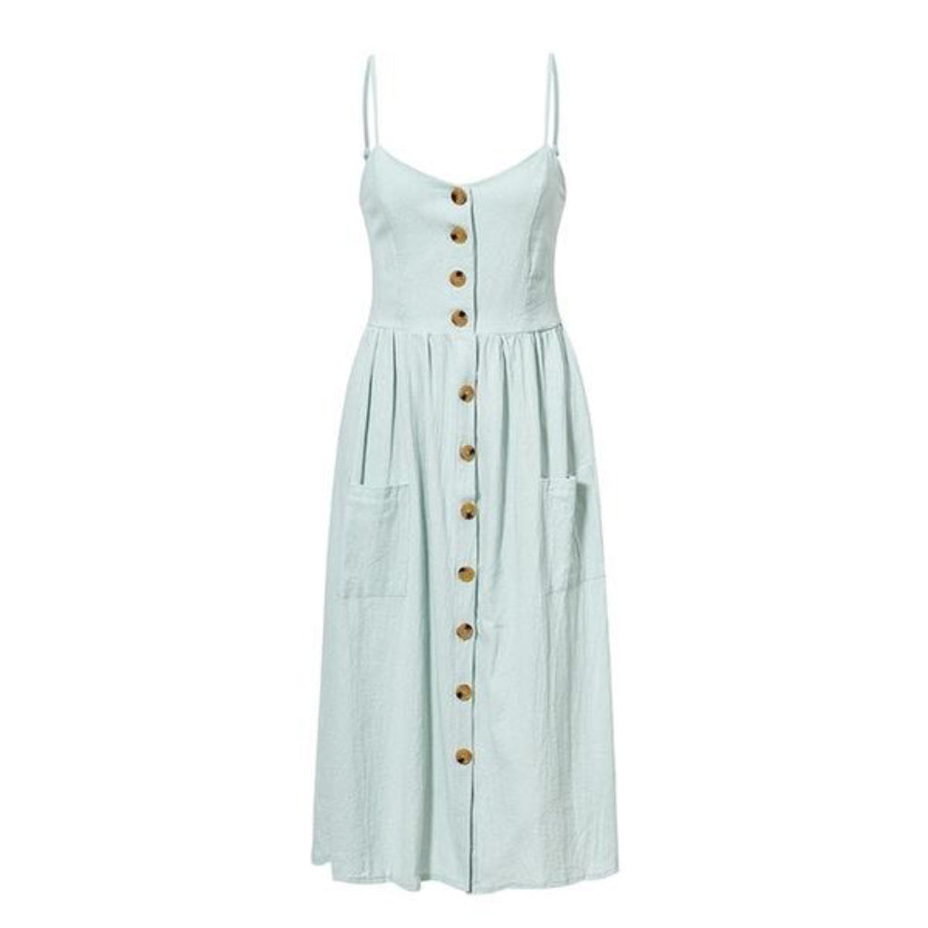 Casual Light Blue Button Midi Dress Summer Midi Dress Pockets and Buttons