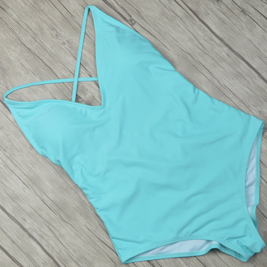 Light Blue One-piece Simple One-piece Teal