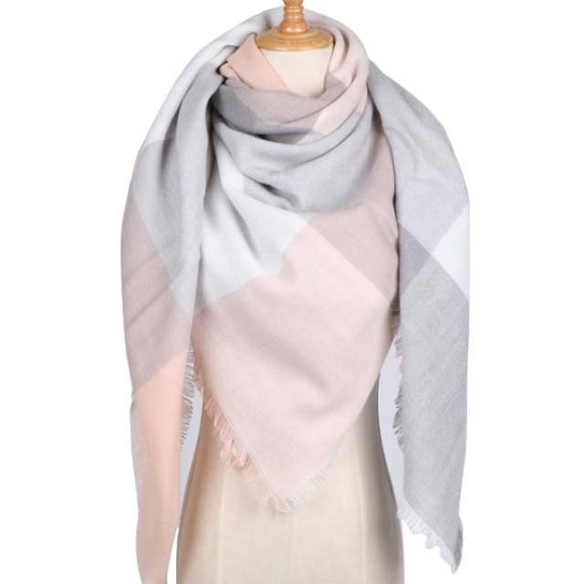 Light pink Gray Scarf Women's High Street Style Fashion