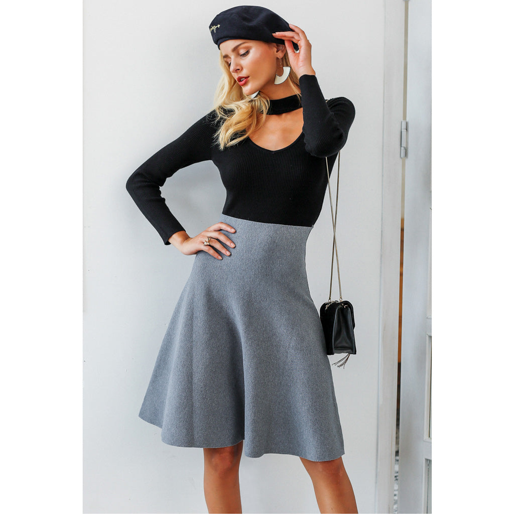 Gray High Waist Midi Skirt Street Style Fashion Skirt
