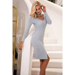 Street Style Bodycon Dress Choker Long Sleeve Bodycon Dress