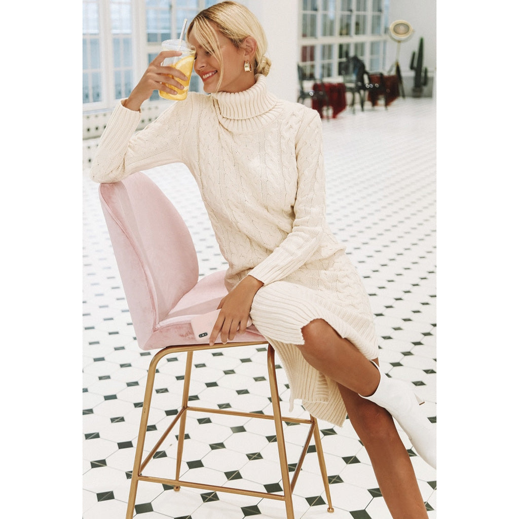 Classy Winter Dress White Turtleneck Long Sleeve Dress