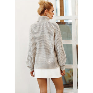 Long Sleeve Turtleneck Sweater Loose