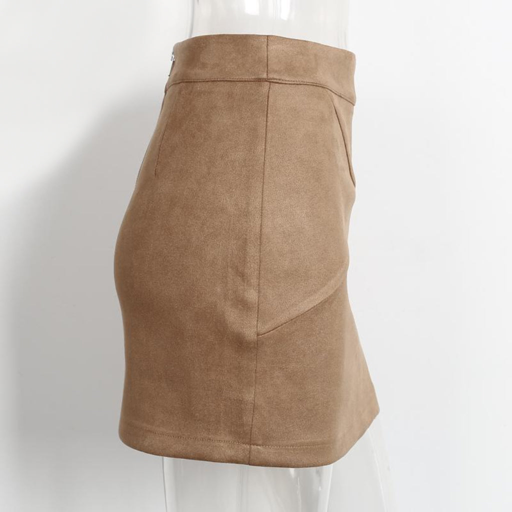Mini Pencil Skirt Faux Suede Leather High Waist