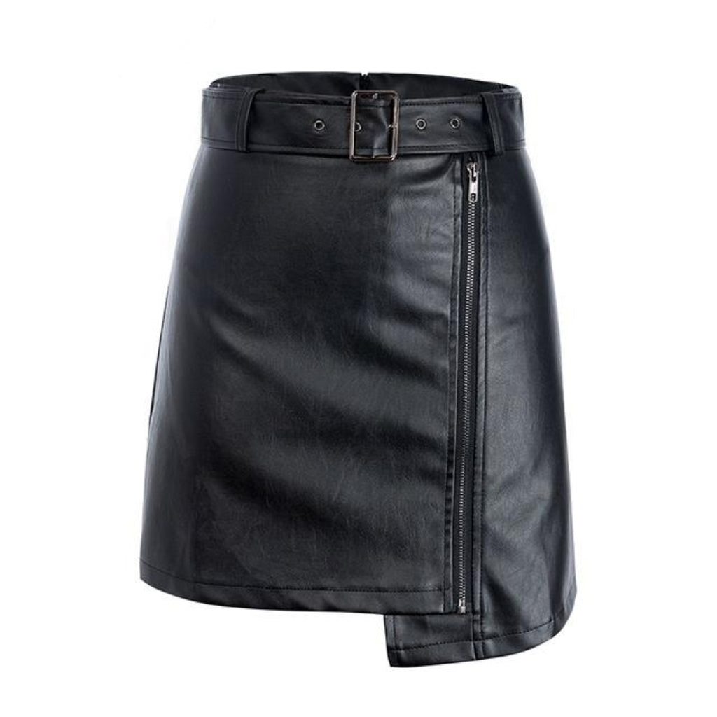 Faux Leather Mini Skirt Black High Waisted With Belt