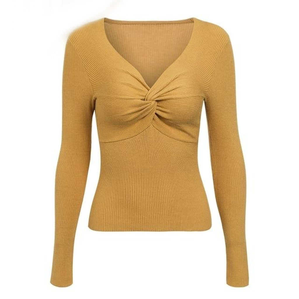 Mustard Cross V-neck Sweater
