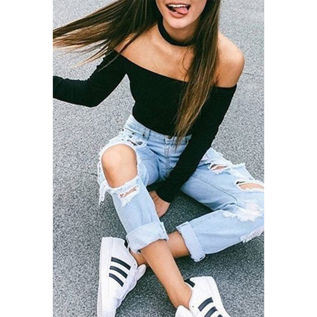 Black Crop Top Women's Off the Shoulder Long Sleeve Street Style Fashion