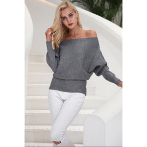 Women's Gray Off the Shoulder Sweater with Batwing Sleeves