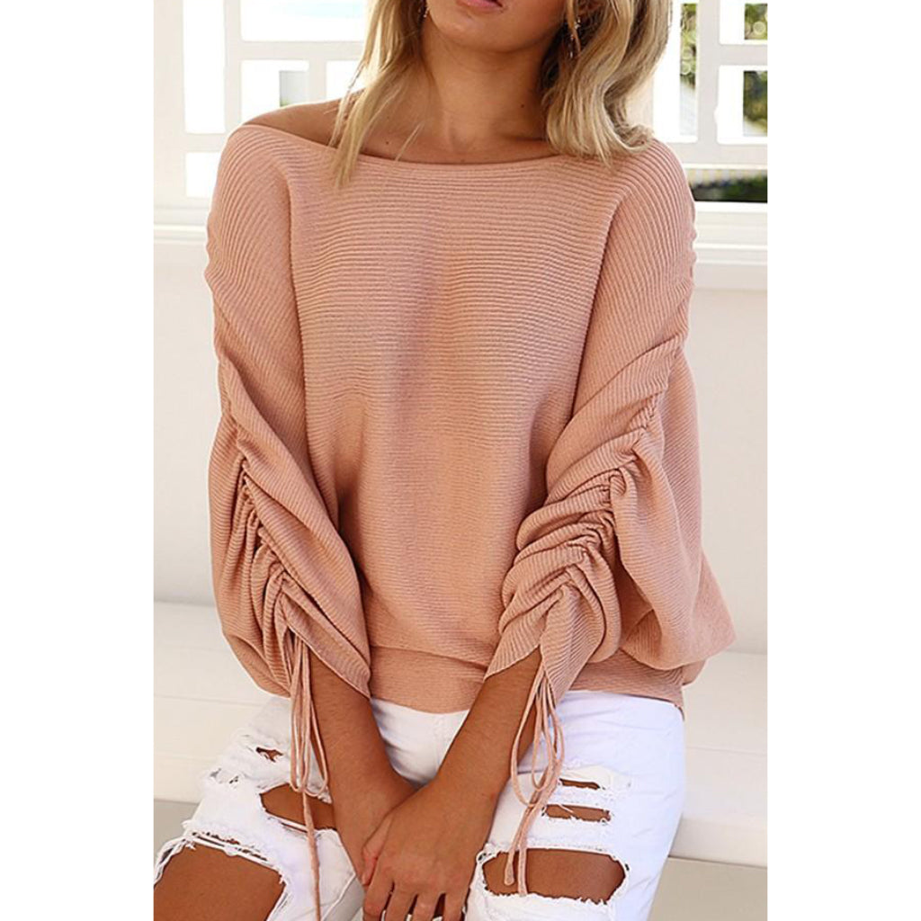 Off the Shoulder Sweater Women's Lace Up Sleeve Pullover Online Shopping