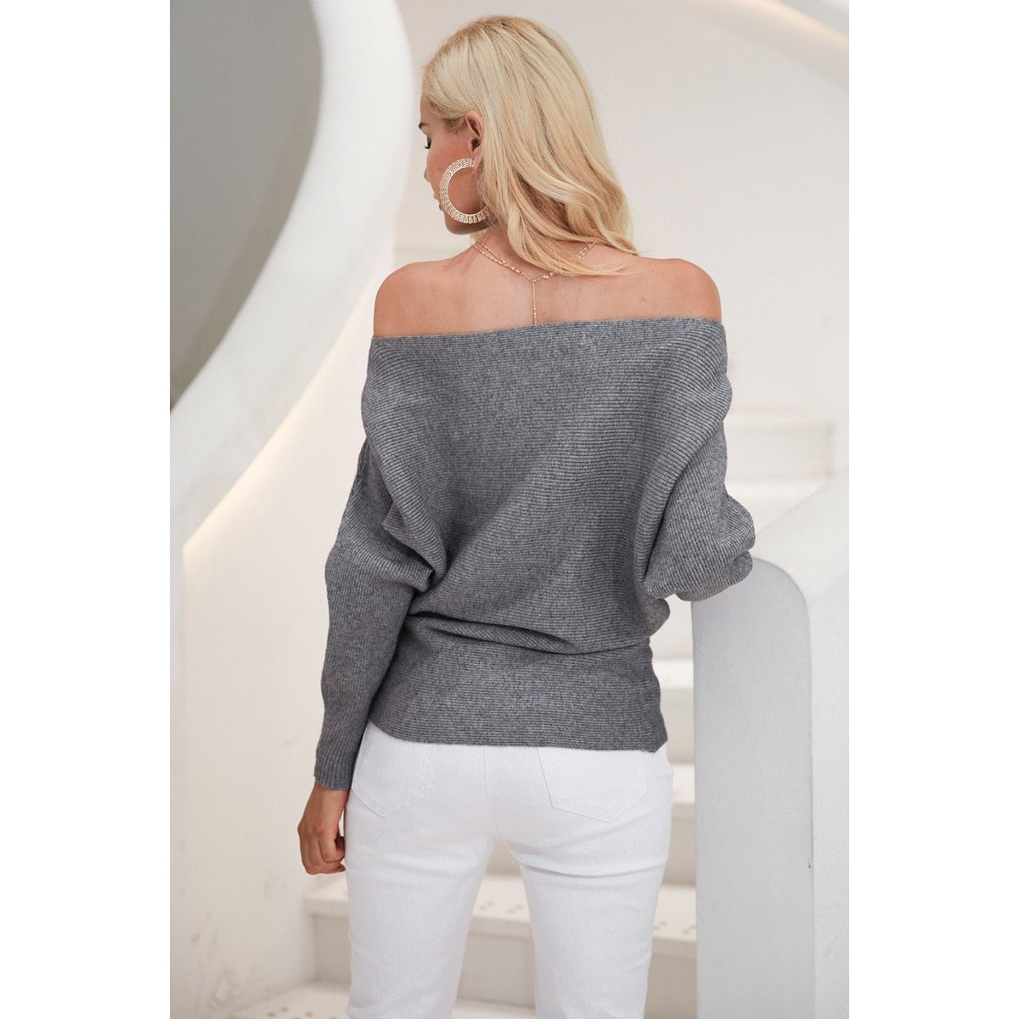 Back of Women's Gray off the shoulder sweater with batwing sleeves