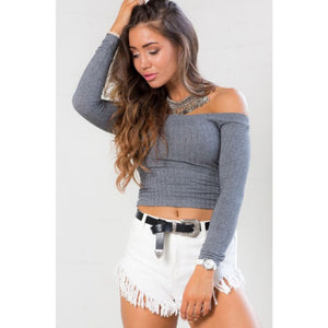 Off the Shoulder Crop Top Long Sleeve Shirt Street Style Fashion Tops