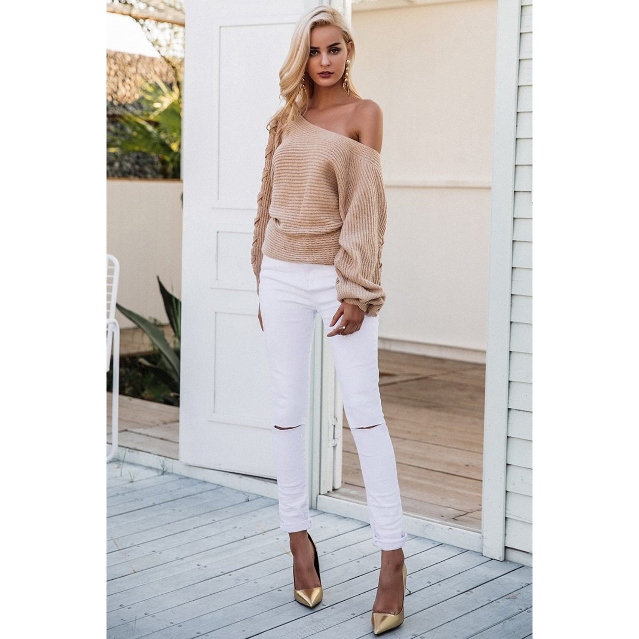 One Cold Shoulder Pullover Sweater With Batwing Sleeves and Lace Up the Arms