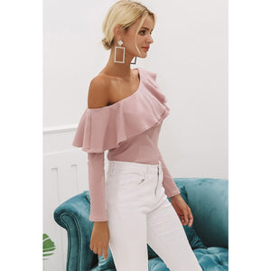 Street Style Blouse Ruffle One Shoulder